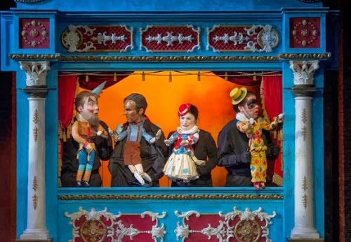 Frazer B Scott, Marta Fontanals-Simmons, Alison Rose, Lawrence Thackeray in Pinocchio at Guildhall: picture credit Alastair Muir