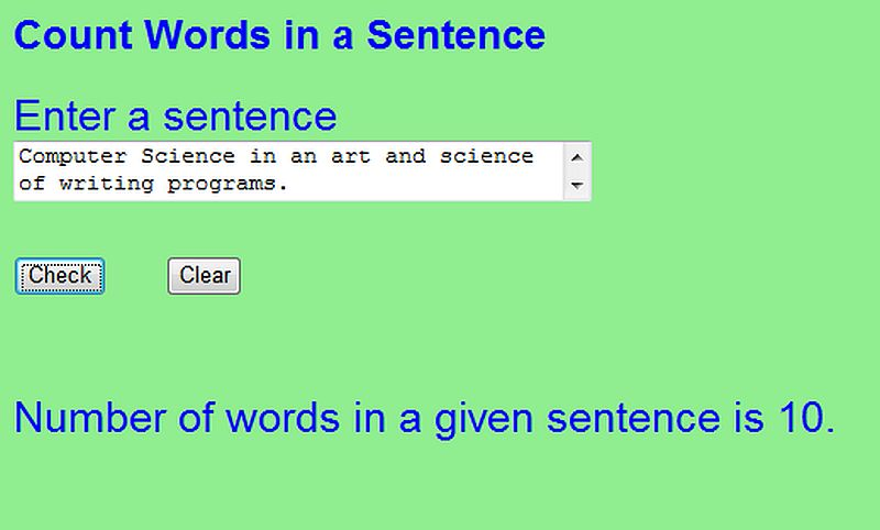 Free Programming Source Codes To All: Count Words in a Sentence in ...
