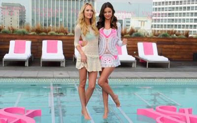 New Victoria Secret bathing suits collection 2012 with bikini models Miranda Kerr and Candice Swanepoel