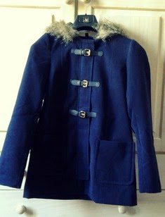 Manteau mi-long bleu H&M