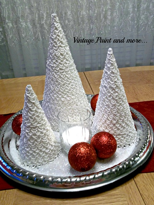 Vintage, Paint and more... Christmas trees made from poster board and lace for a table centerpiece