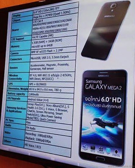 Samsung Galaxy Mega 2 Leak , Galaxy Mega 2, Samsung leaks