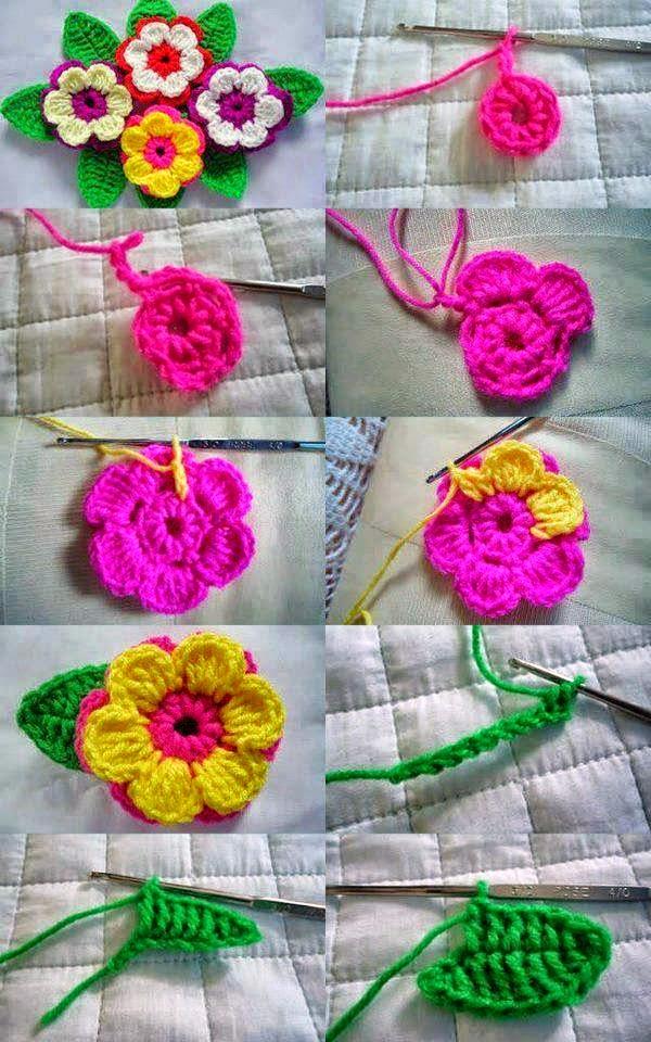 Flores de primavera al crochet - con paso a paso | Crochet y Dos ...