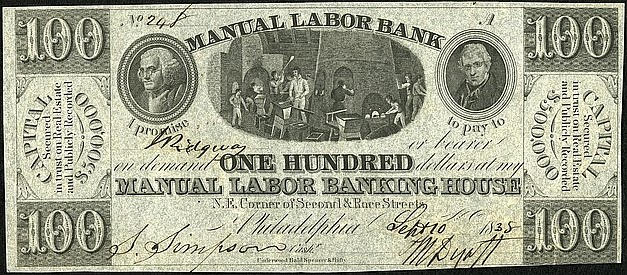 100 долларов частного банка, 1838 год