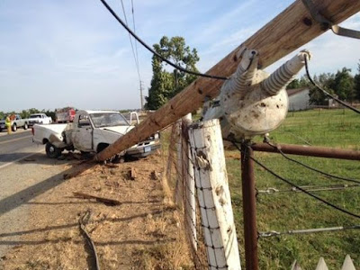 tulare county pickup truck crash power pole no electricity road 132