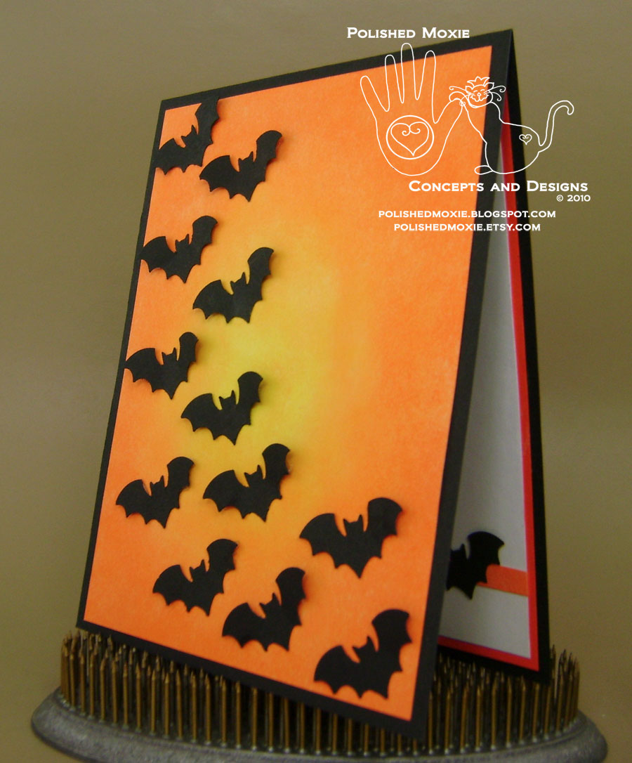 Halloween Card Making Ideas Part - 36: Picture Of The Front Of My Handmade Bats Halloween Card Set At A Left Angle  To