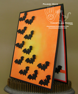 Picture of the front of my handmade bats Halloween card set at a left angle to show dimensional elements
