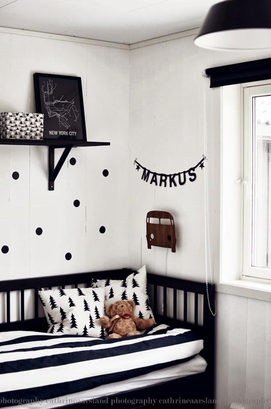 Insp rate una habitaci n infantil en blanco y negro y sus for Corredor deco blanco y negro