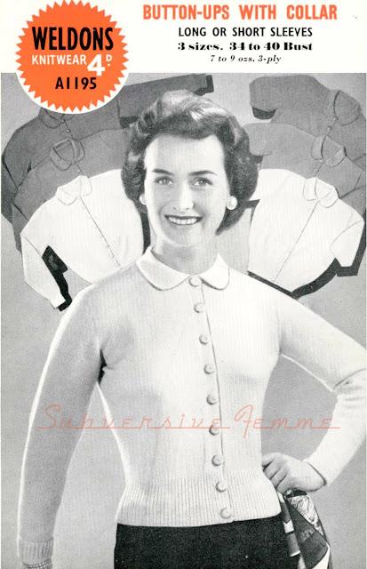 1950s pinup cardigan free vintage knitting pattern