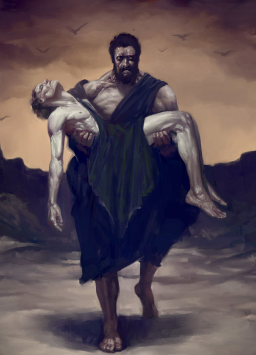 is this painting of cain and abel from batman arkham city based on