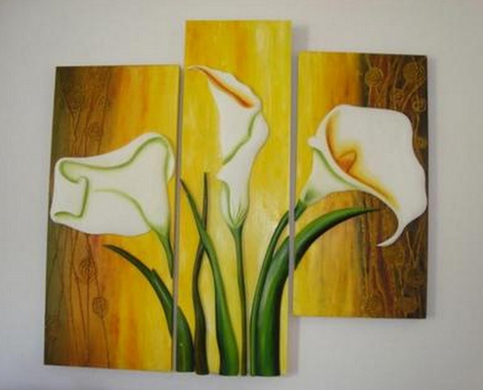 Pinturas cuadros lienzos pinturas tripticos modernos con flores - Triptico cuadros modernos ...