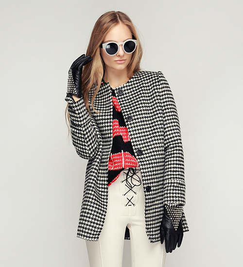 Soft Houndstooth Classic Coat