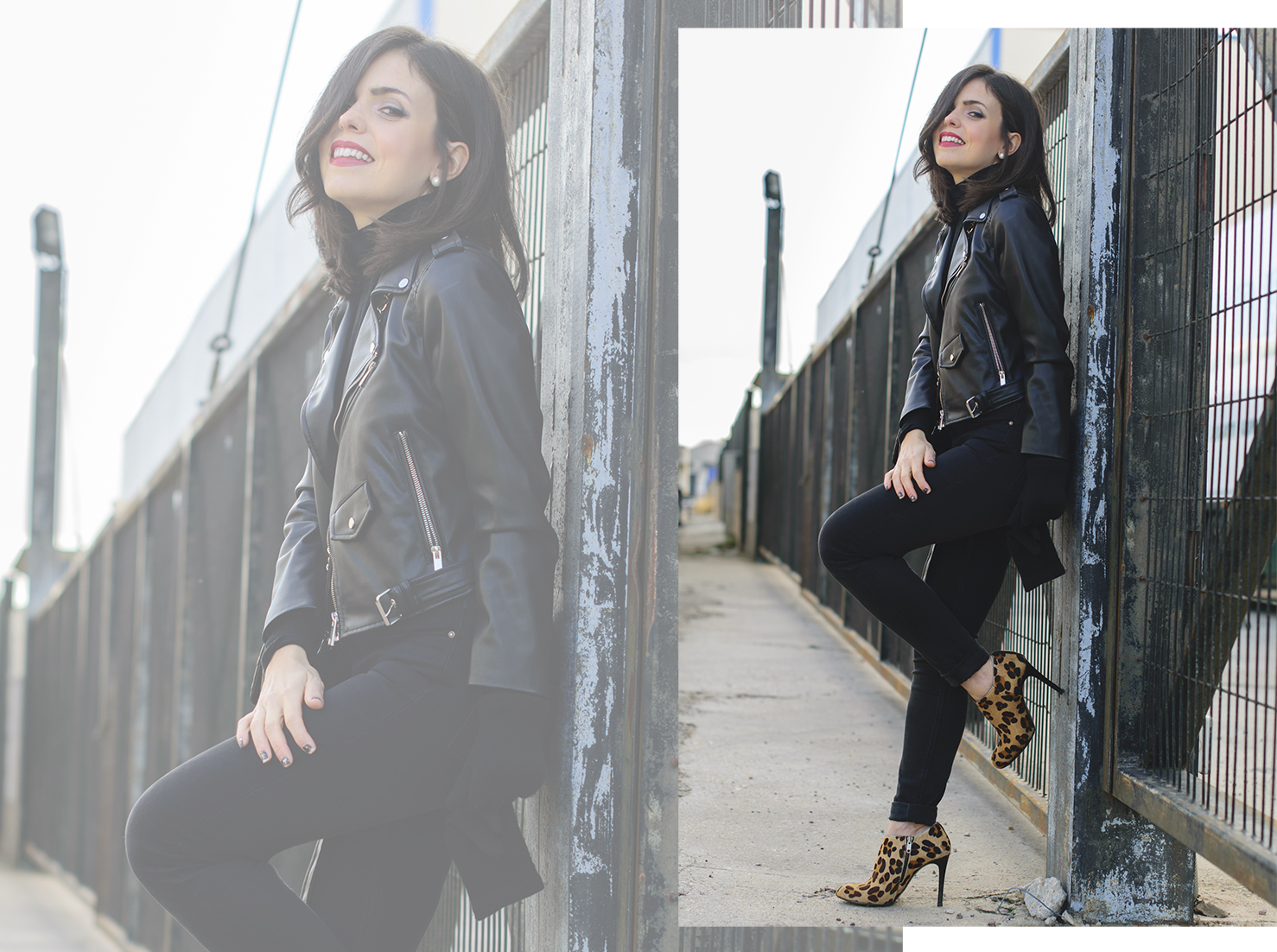 Total black con biker de Zara y bolso Chanel 2.55