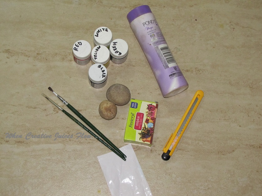2 Hobby Ideas Shilpkar Caly White M Seal 3 Acrylic Paint 4 Paper Knife Craft 5 Brush 6 A Small Piece Of Polythene Bag 7 Talcum Powder