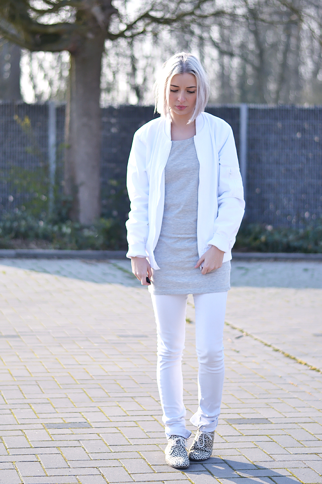 Bomber jacket white, takko fashion dress, asos, bershka, maruti footwear
