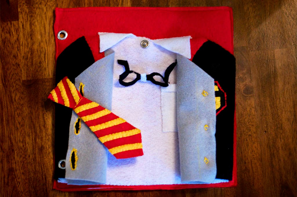 Harry Potter Quiet Book Pages - Uniform Buttoning Page by Today I Felt Crafty