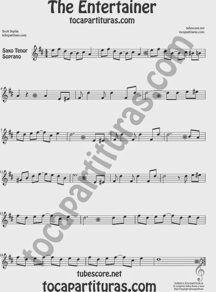 The Entertainer Partitura de Saxofón Soprano y Saxo Tenor Sheet Music for Soprano Sax and Tenor Saxophone Music Scores