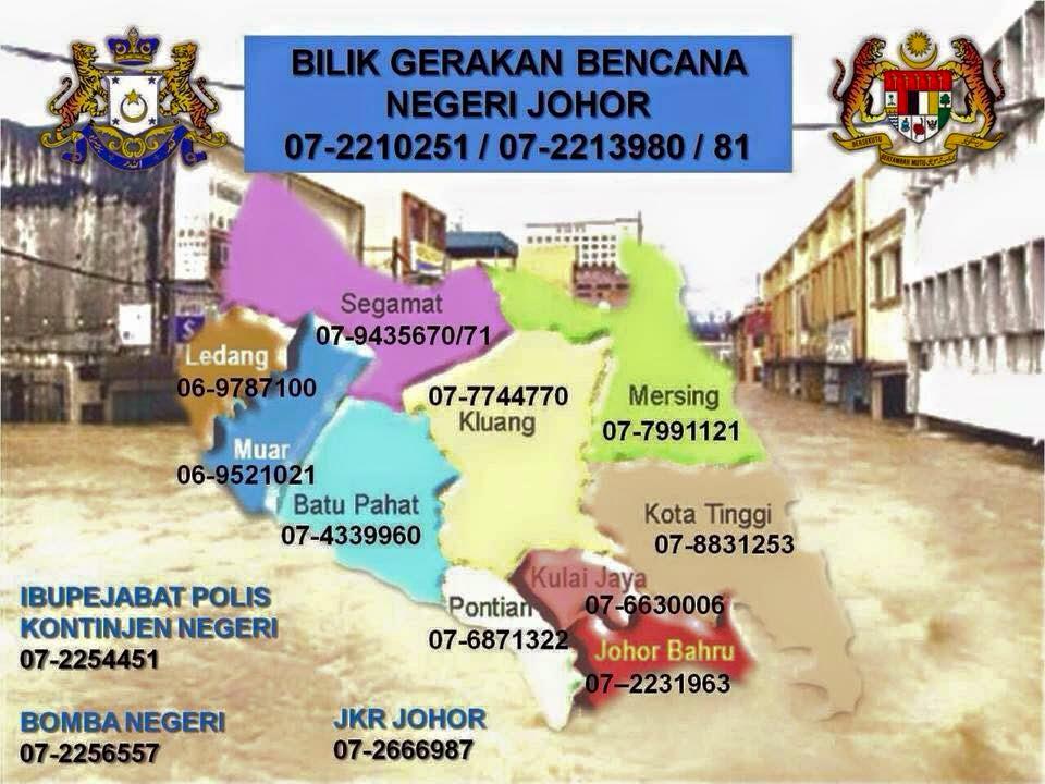 No Telefon Hotline Bilik Gerakan Bencana Banjir Negeri Johor