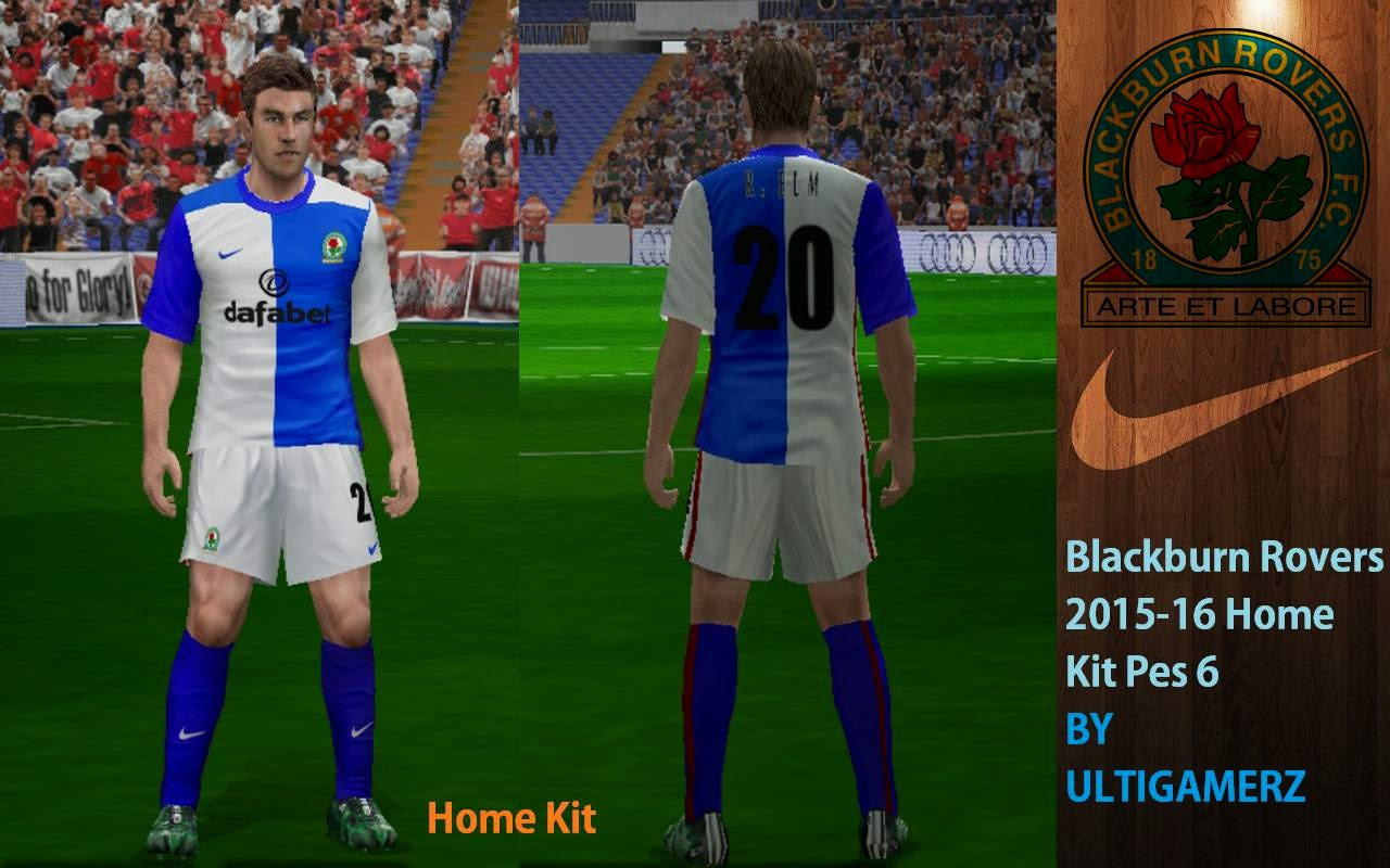 Ultigamerz blackburn rovers 2015 16 home kit pes 6 for Blackburn home