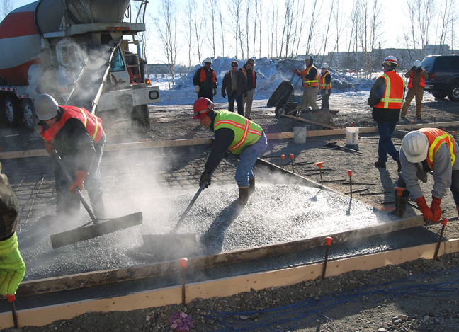 Placement of concrete in cold weather engineersdaily for Concrete freezing