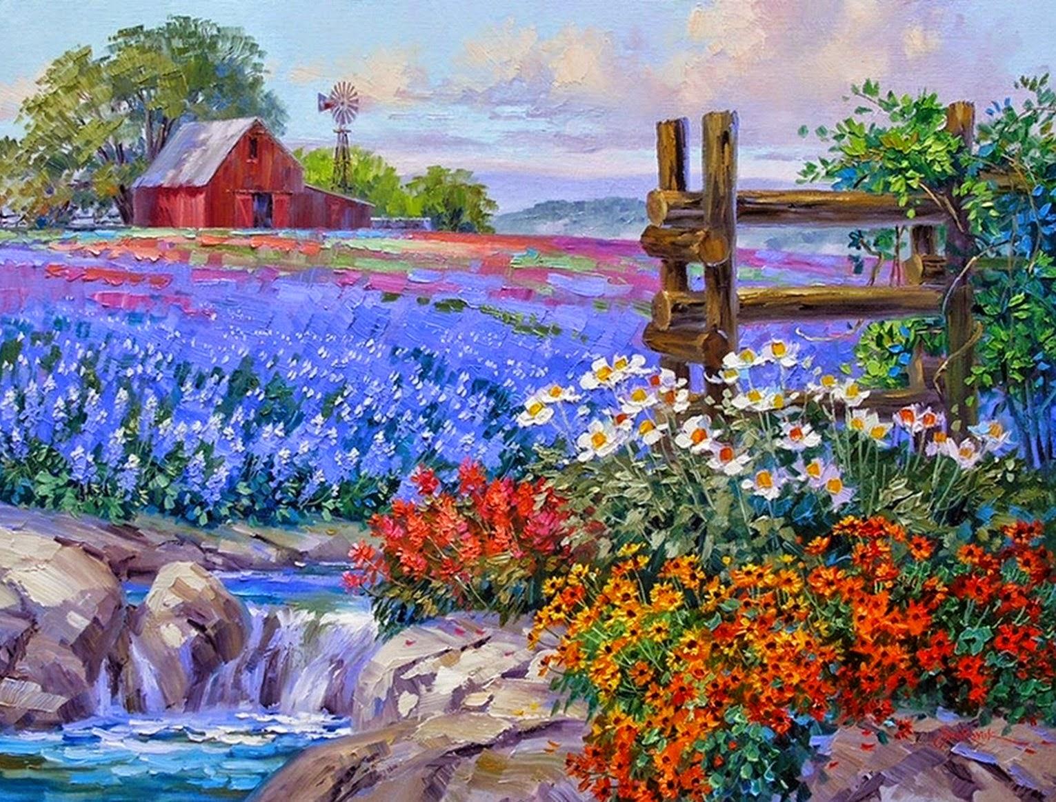 paisajes-floridos-pintados-con-espatula