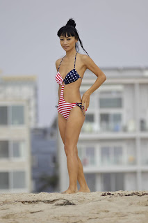 Bai Ling  on the Beach in Los Angeles in an American-flag swimsuit
