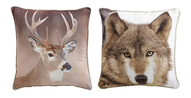 stag and wolf head photo pillow
