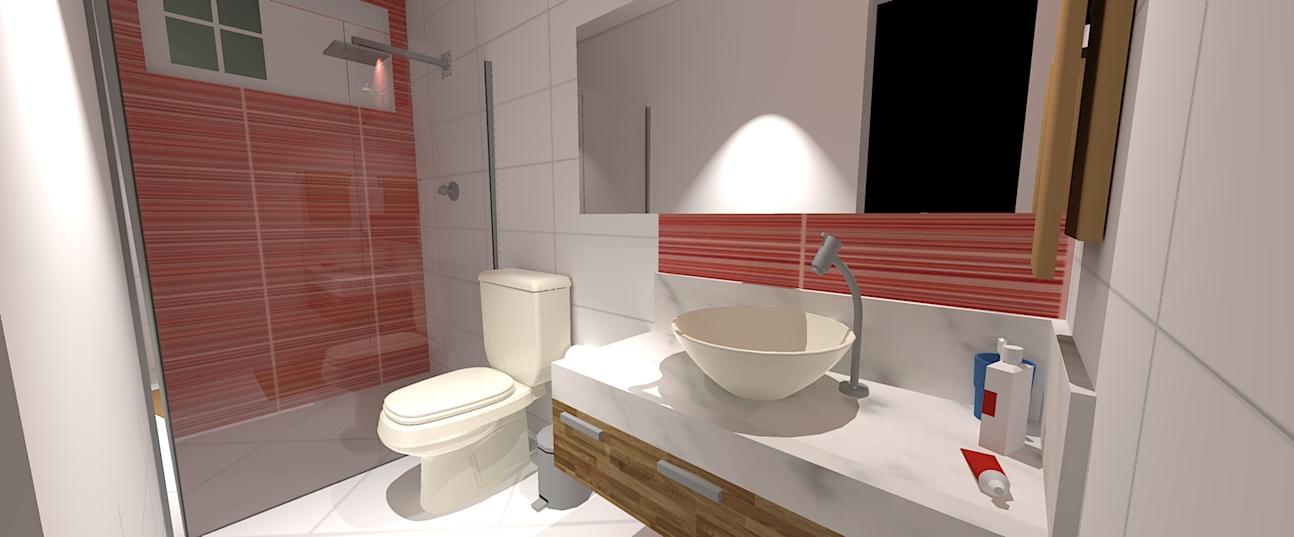 decoracao de banheiro vermelho e branco:Red Bathroom
