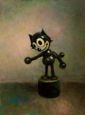 An oil painting by artist Colin Barclay of a vintage children's toy