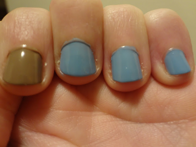 light blue and light brown nail polish