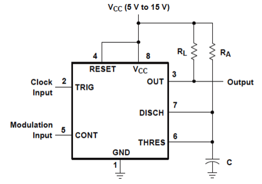 how to generate pwm using ic electronic circuit projects the diagram shows the ic 555 wired up in an easy monostable multivibrator mode we know that in this mode the ic is able to generate a positive pulse at