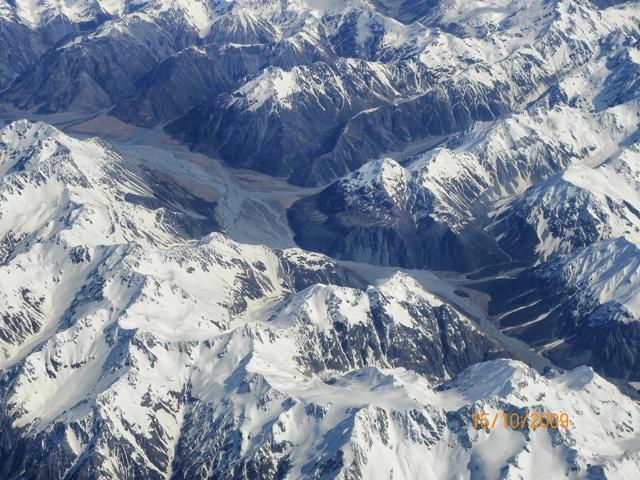 Foto desde el avión de las montañas de Nueva Zelanda