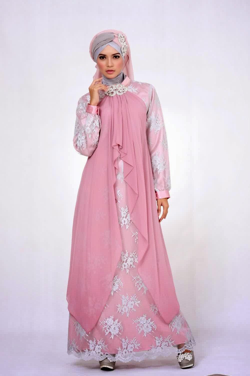 10 contoh model baju muslim brokat terbaru 2015 Gambar baju gamis pesta 2014