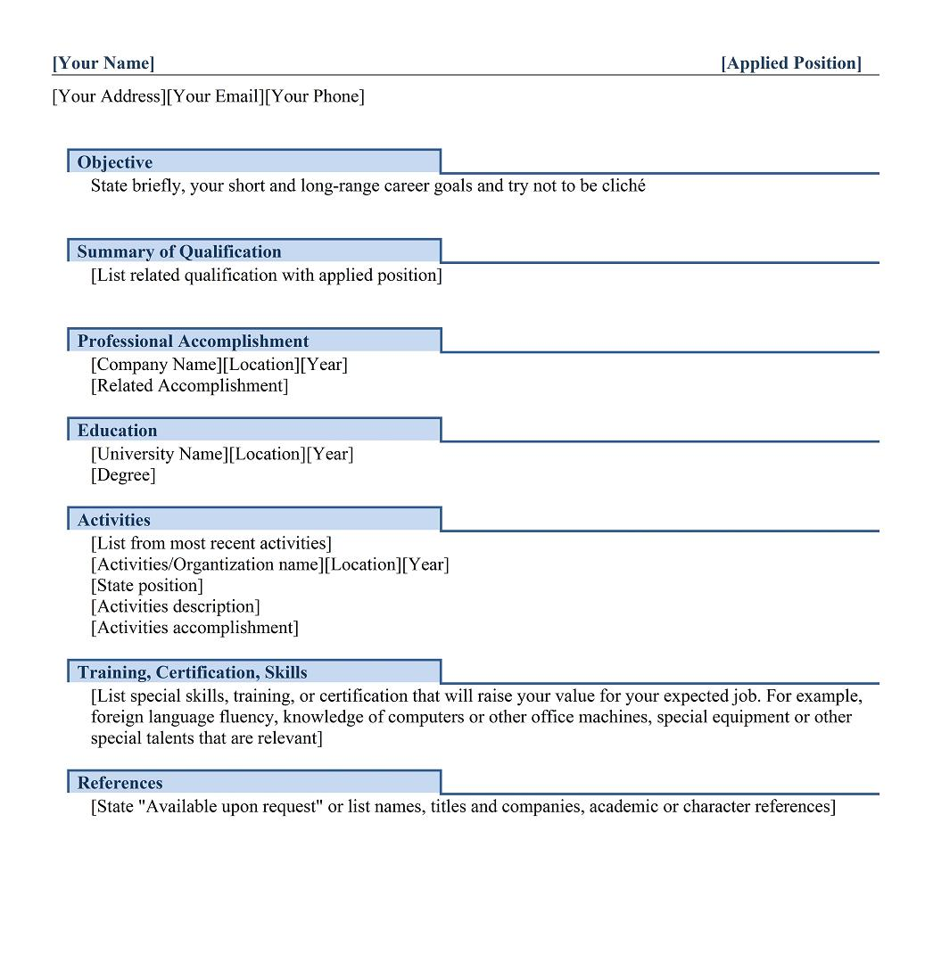 functional resume example for freshers