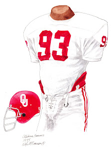 1975 University of Oklahoma Sooners football uniform original art for sale