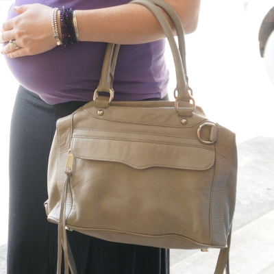 AwayFromTheBlue | Baby belly Rebecca Minkoff MAB mini in soft grey
