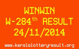 WINWIN Lottery W-284 Result 24-11-2014