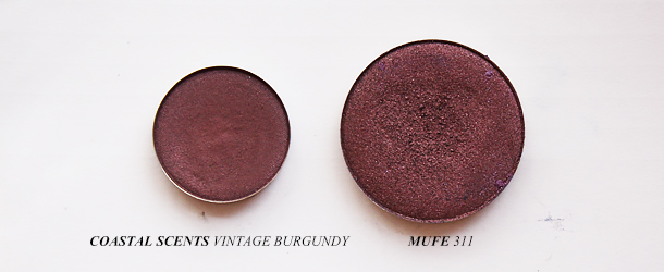 mufe 311 dupe eyeshadow makeup forever coastal scents vintage burgundy swatch