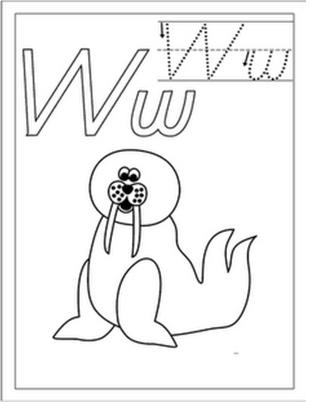 Colorear dibujo de la letra W para imprimir,Colorear abecedario ...