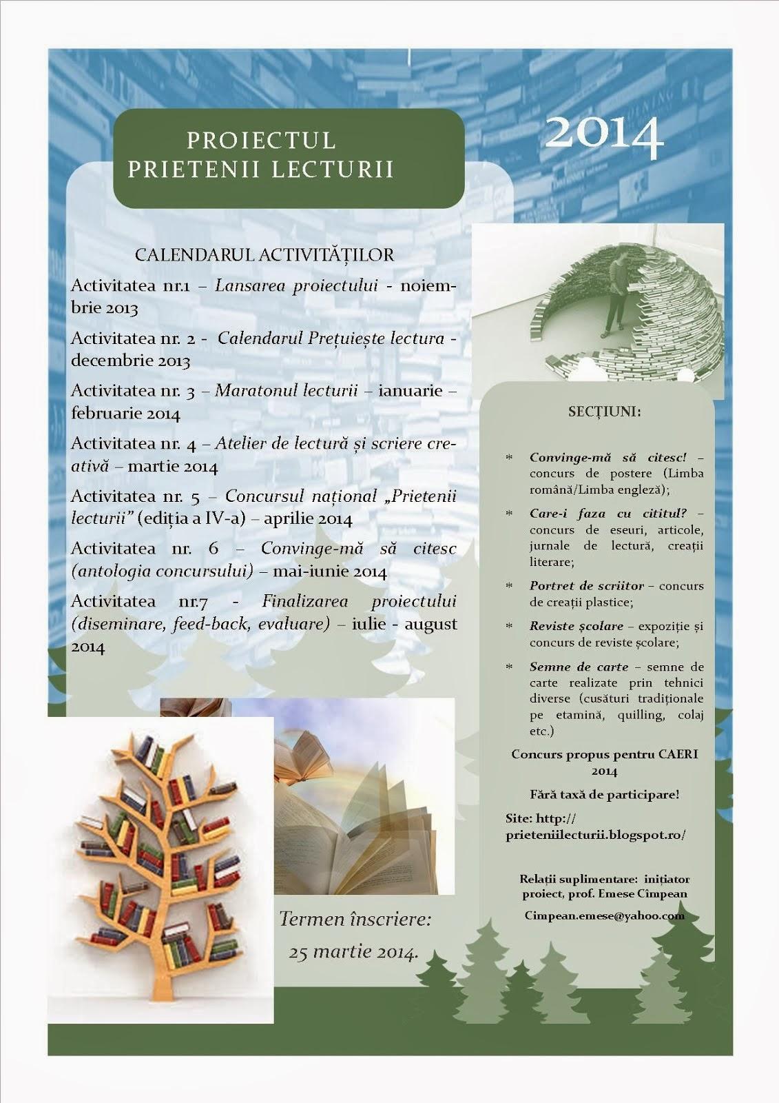 Calendarul proiectului - ediția a II-a, 2014