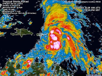 Tormenta tropical Rafael 14 de Octubre 2012
