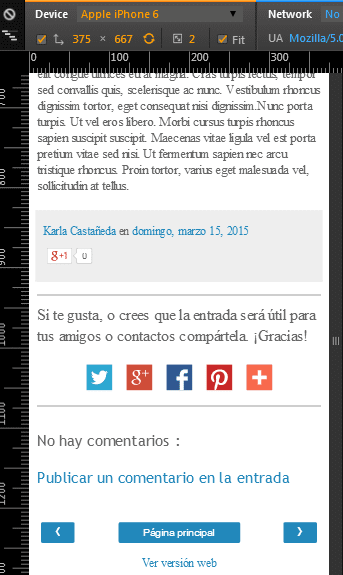 pagina del blog emulada usando iphone 6 desde chrome
