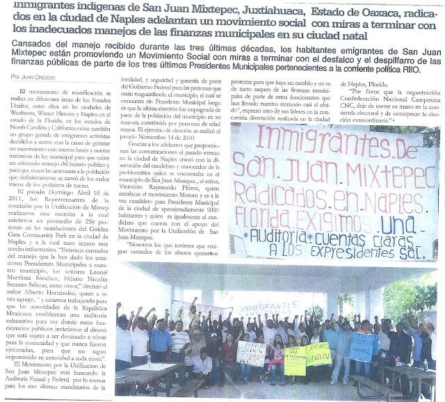 Inmigrantes Indigenas de San Juan Mixtepec, Oaxaca, Repudian a