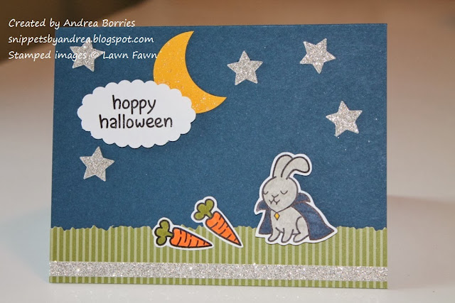 "Halloween card with a ""vampire"" bunny and the greeting ""hoppy halloween."""