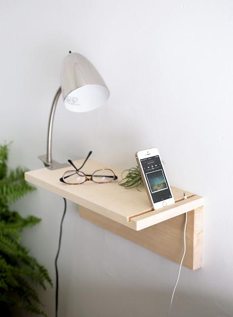Schwebender Nachttisch aus Massivholz zum Selbermachen