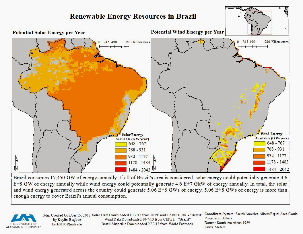 the following map was created at arcgis com click on brazil for information about solar and wind energy in brazil