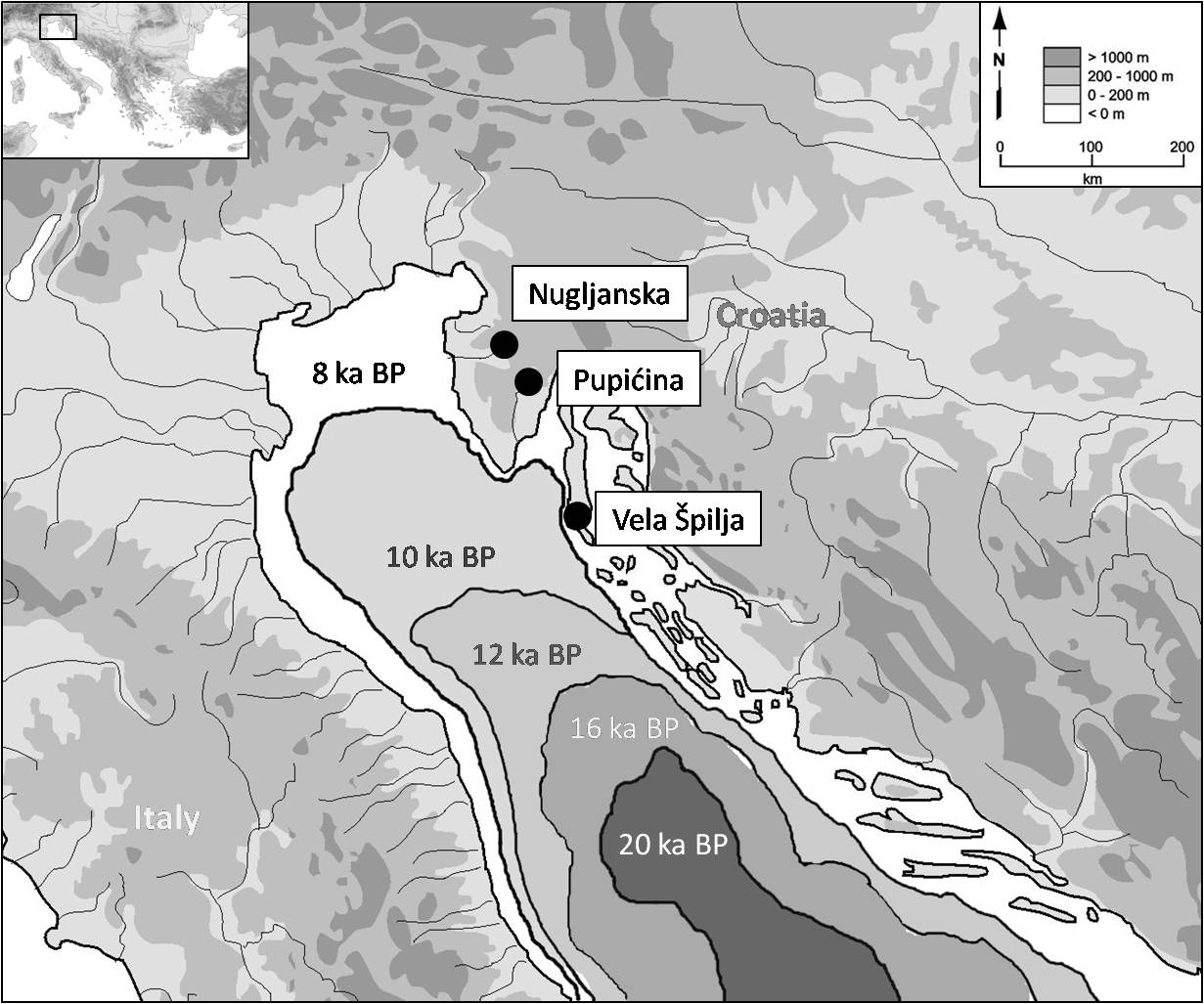 map of the three case study sites nugljanska pupicina and vela spila losinj and their relationship to the changing coastline after the last ice age