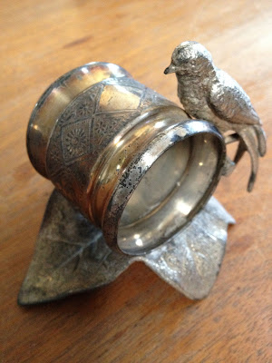 Figural Bird on Leaf Victorian Napkin Ring