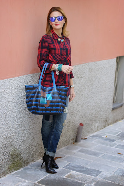 Zara tartan shirt, Cesare Paciotti ankle boots, Marc by Marc Jacobs tote, Fashion and Cookies, fashion blogger
